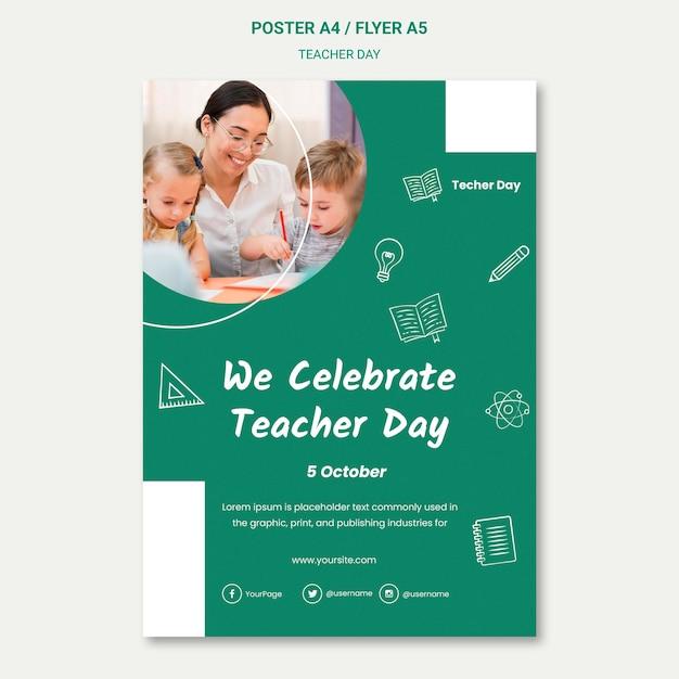Мы празднуем шаблон плаката ко дню учителя Бесплатные Psd