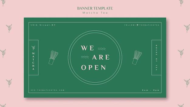 We are open matcha tea shop banner template Free Psd