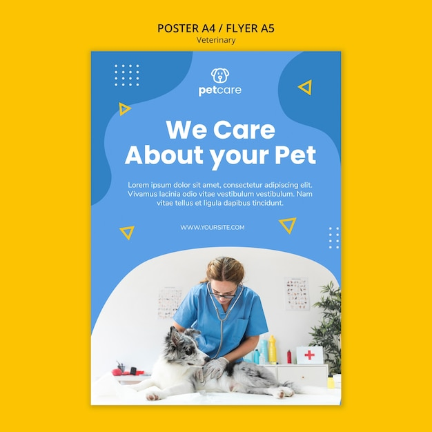 We care about your pet veterinary poster template Free Psd
