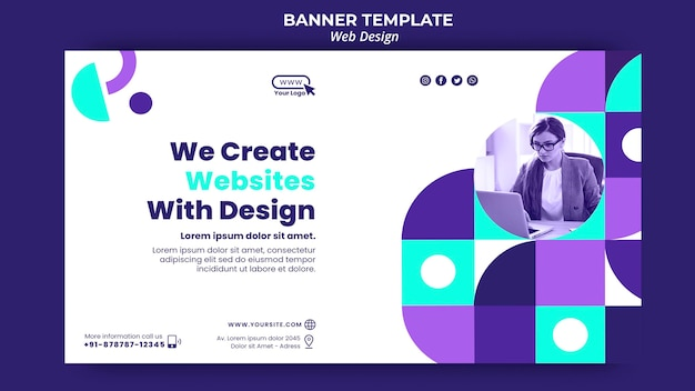 We create websites with design banner template Free Psd