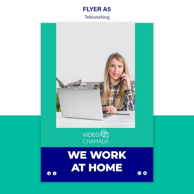 We work at home flyer template Free Psd