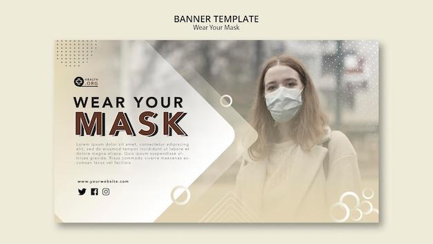 Wear a mask banner web template Free Psd