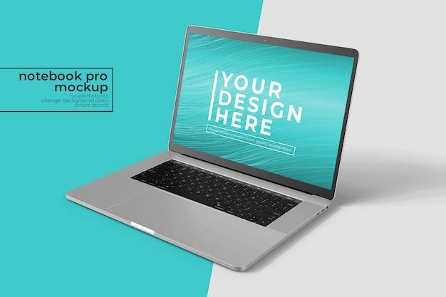 フロントビューでのwebおよびアプリモックアップ用の高品質15インチノートブックプロ Premium Psd