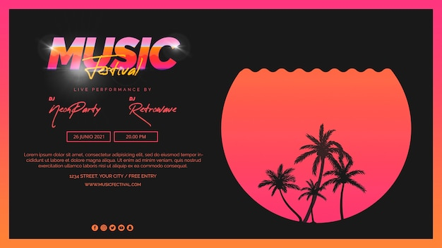 Web banner template for 80s music festival Free Psd