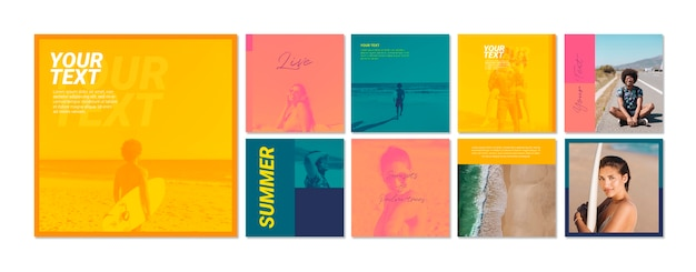 Web banner template collection with summer concept Free Psd