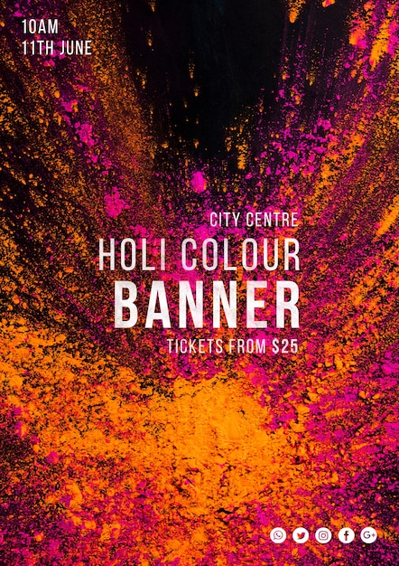 Web banner template for holi festival Free Psd