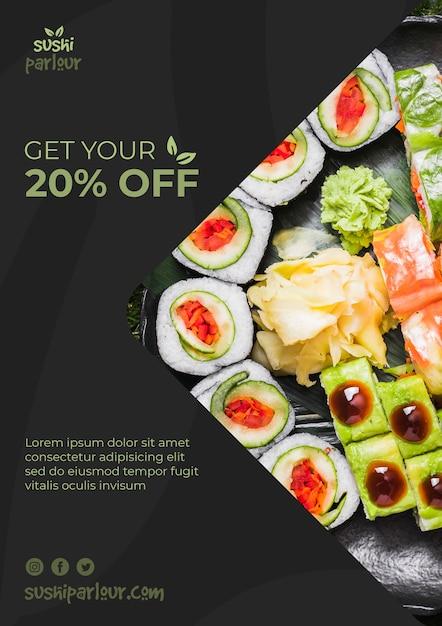 Modello di banner web per ristorante giapponese Psd Gratuite
