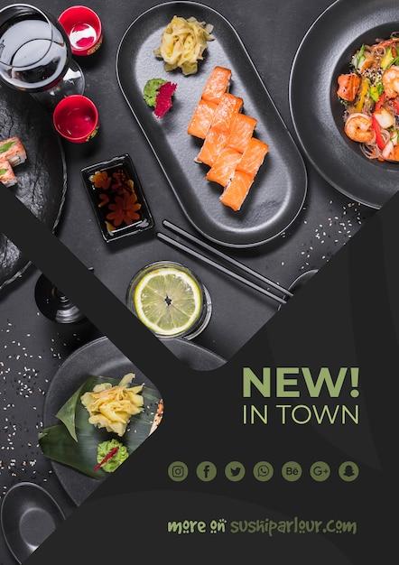 Web banner template for japanese restaurant Free Psd