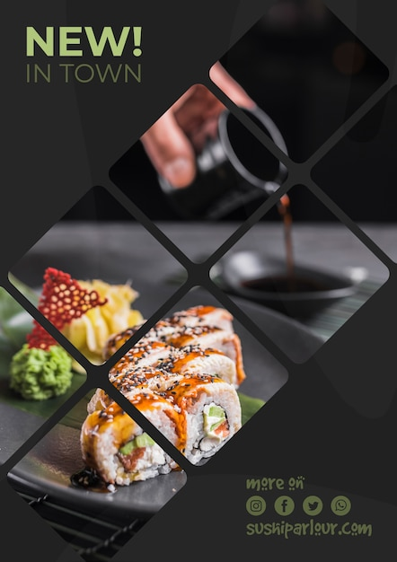 Web banner template for japanese restaurant Free Psd