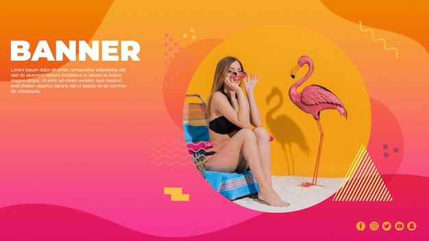 Web banner template in memphis style with summer concept Free Psd