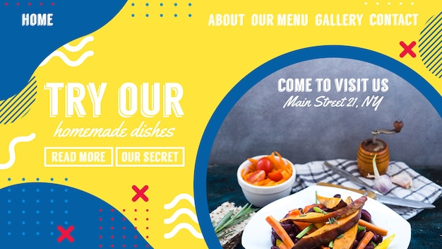 Web banner template for restaurant in memphis style Free Psd