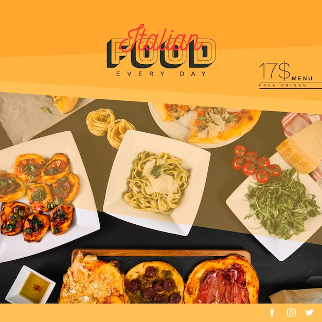 Web banner template with italian food concept Free Psd