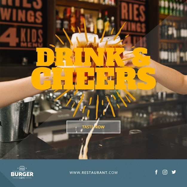 Web banner template with restaurant concept Free Psd