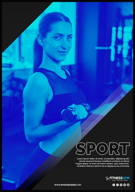 Web banner template with sports concept Free Psd