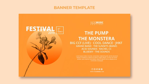 Web banner template with spring festival concept Free Psd