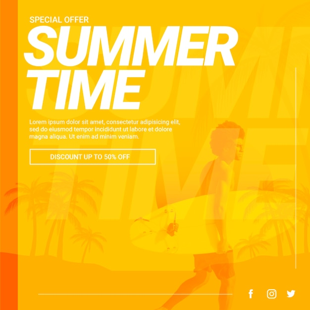 Web banner template with summer concept Free Psd