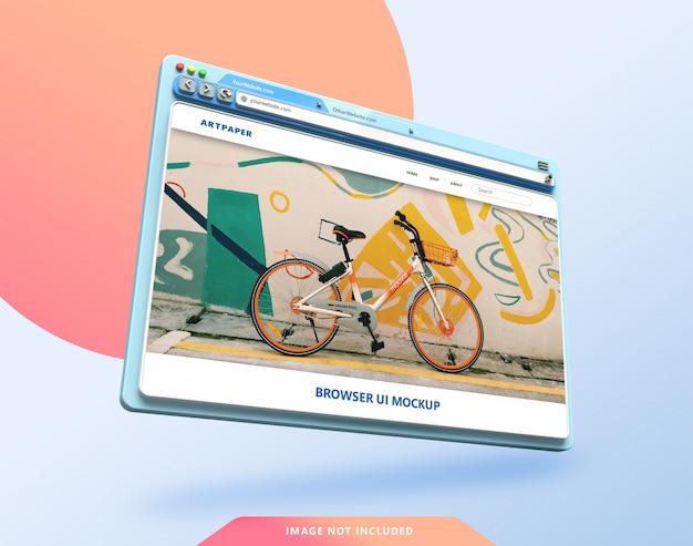 Веб-браузер ui 3d макет в пастельных тонах Premium Psd
