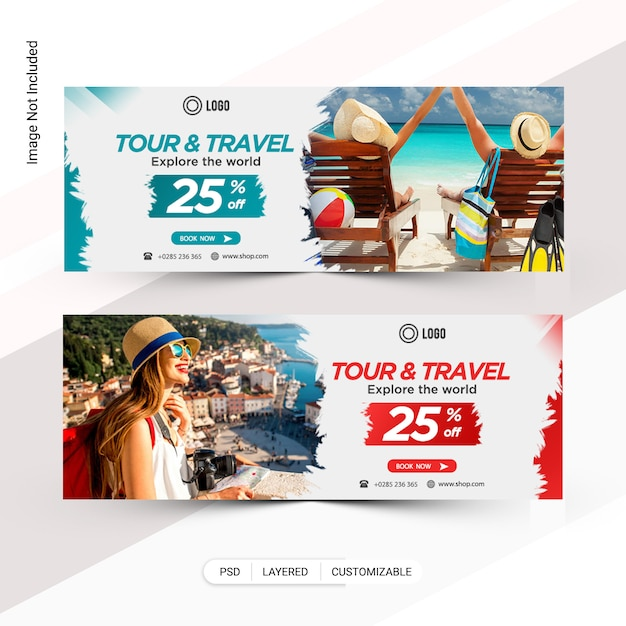 ツアー&トラベルwebバナー、facebookカバー Premium Psd