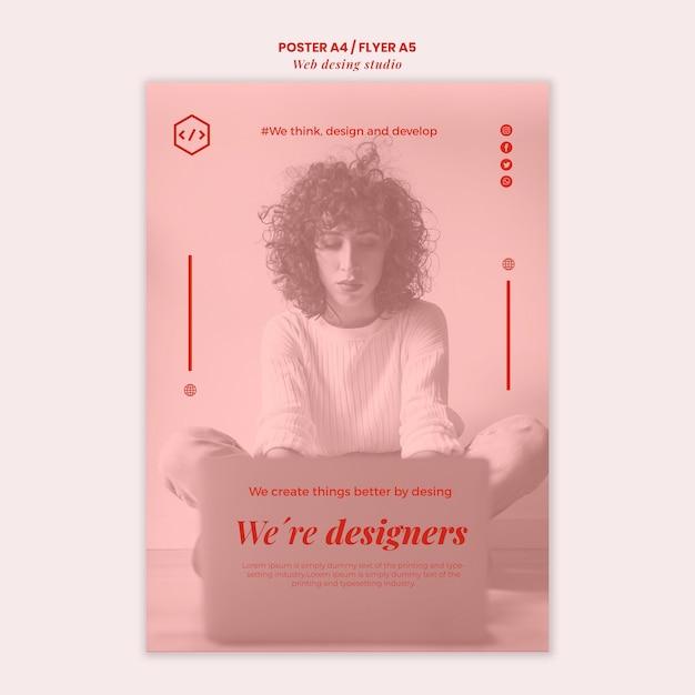 Шаблон плаката дизайна веб-студии Бесплатные Psd