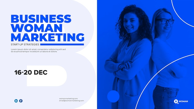 Web template design with business woman Free Psd
