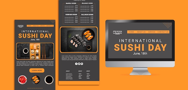 Web template for international sushi day Free Psd