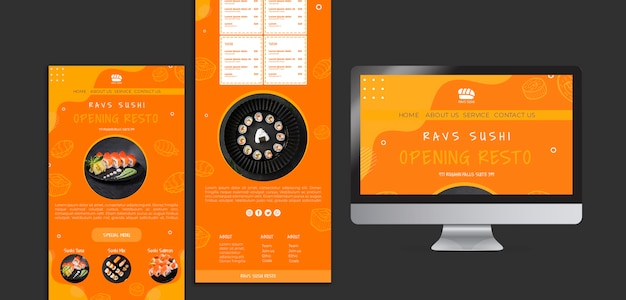 Web template for sushi restaurant Free Psd