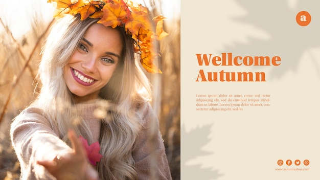 Web template with beautiful woman with leaves crown Free Psd