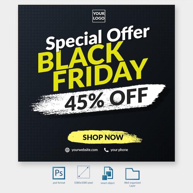 ブラックフライデータイポグラフィ割引オファーソーシャルメディア投稿テンプレートwebバナー Premium Psd