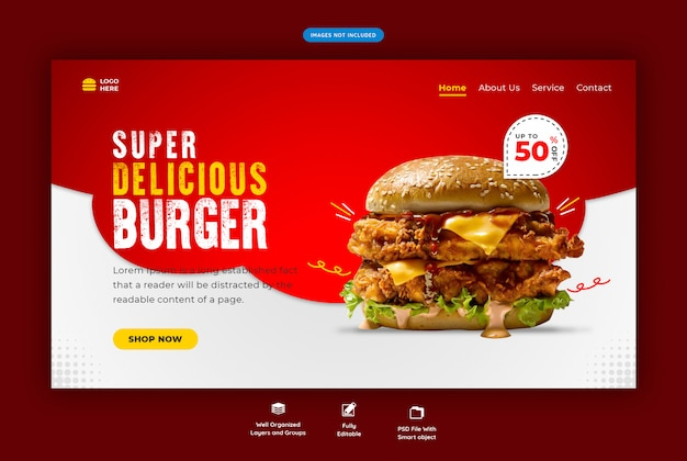 ファーストフードハンバーガーのwebテンプレート Premium Psd
