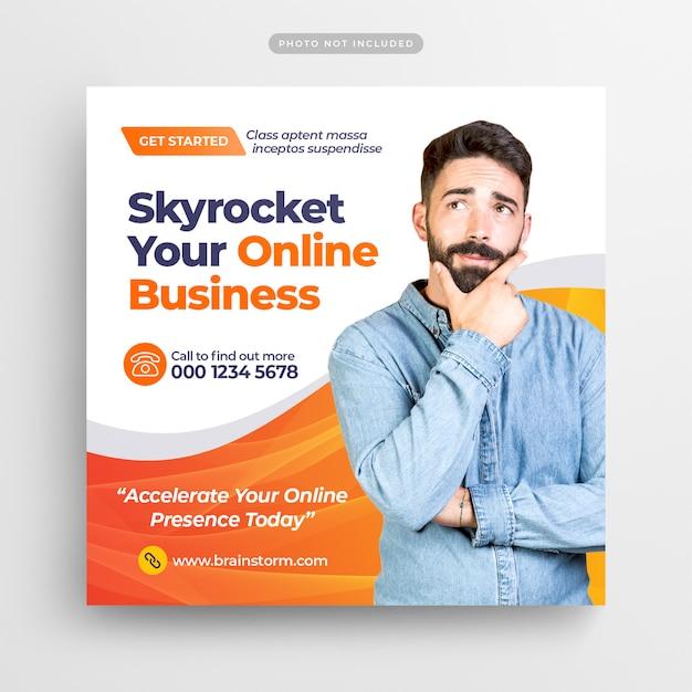 デジタルビジネスマーケティングソーシャルメディアポスト&webバナー Premium Psd