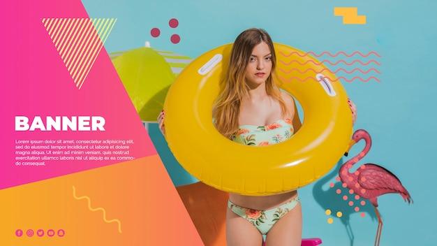 夏のコンセプトとメンフィススタイルのwebバナーテンプレート 無料 Psd