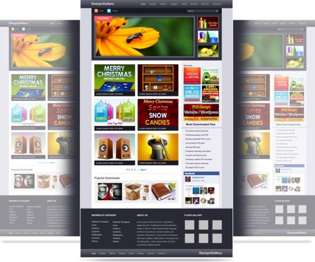 website gallery psd template psd file free download