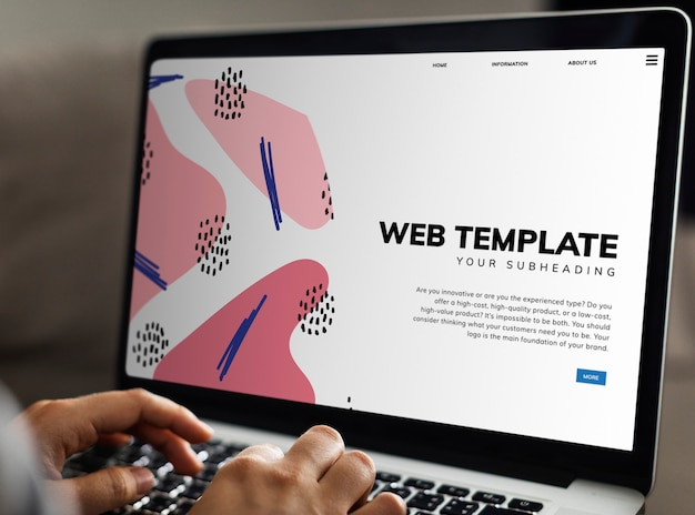 Website template on laptop screen Free Psd