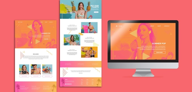 Website templates in memphis style with summer concept Free Psd