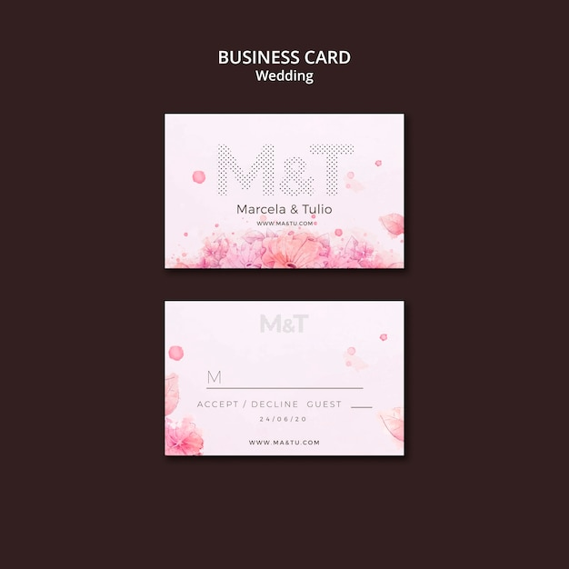 Шаблон свадебной визитки Premium Psd