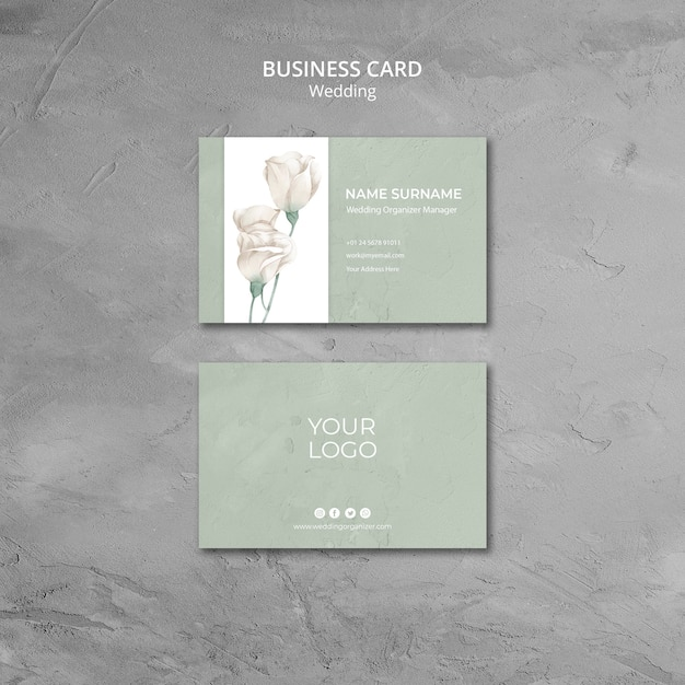 Wedding business card template Free Psd