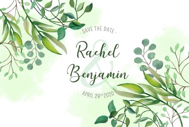 Wedding card with watercolor leaves Free Psd