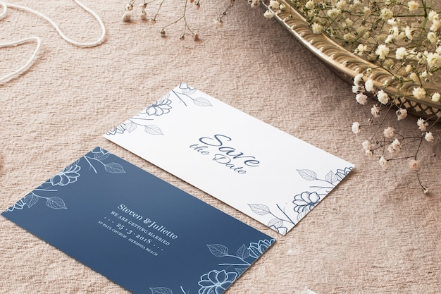 Wedding cards mockup Free Psd