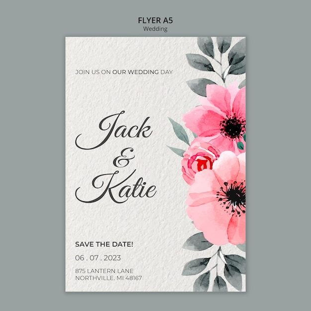 Wedding concept flyer template Free Psd