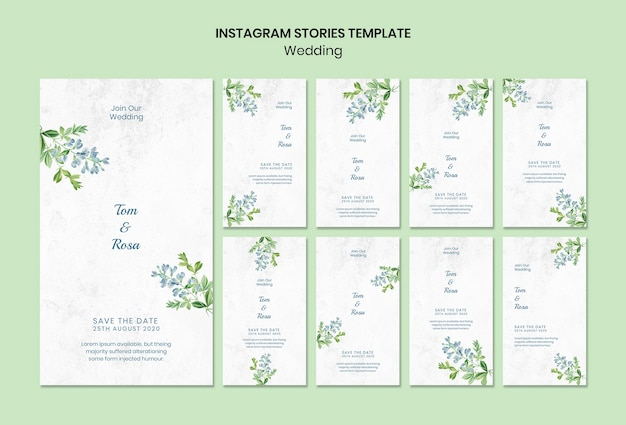 Wedding concept instagram stories template Free Psd