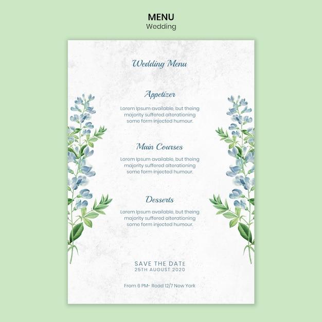 Шаблон меню свадебной концепции Бесплатные Psd