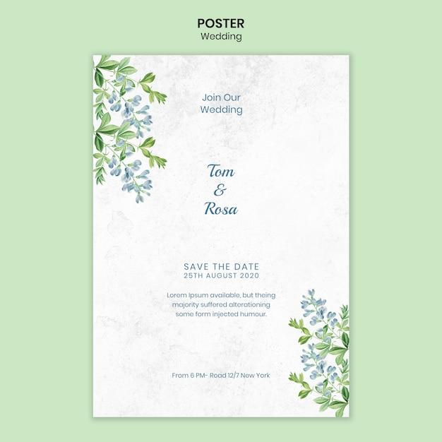 Свадебный шаблон постера Бесплатные Psd