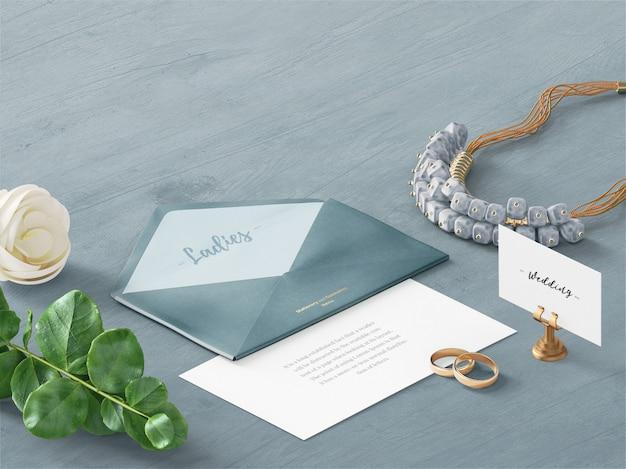 Wedding envelope & card custom scene mockup Premium Psd