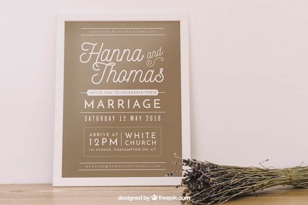 Wedding frame mockup PSD file | Free Download