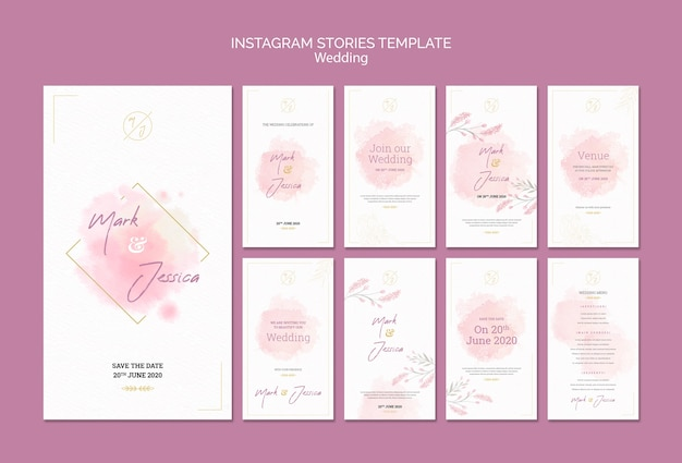 Wedding instagram stories template mock-up Free Psd