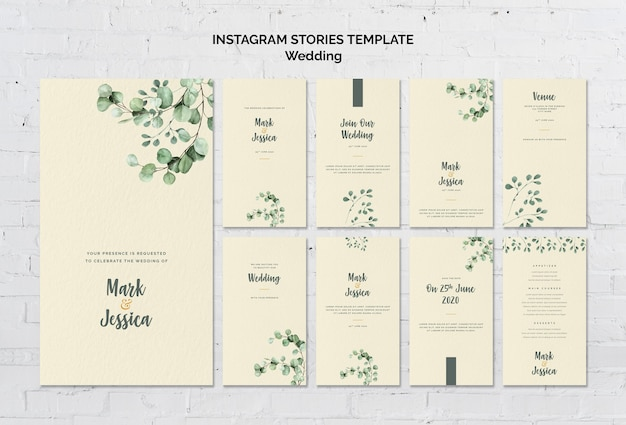 Wedding instagram stories template Free Psd