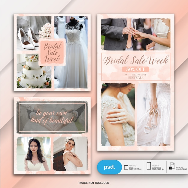 Wedding instagram story and square post or banner template Premium Psd