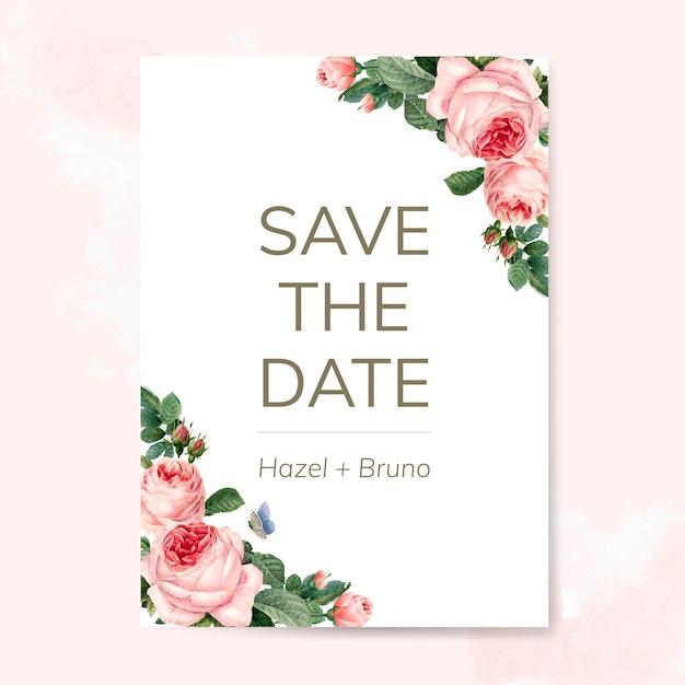 Wedding invitation card decorated with roses Premium Psd