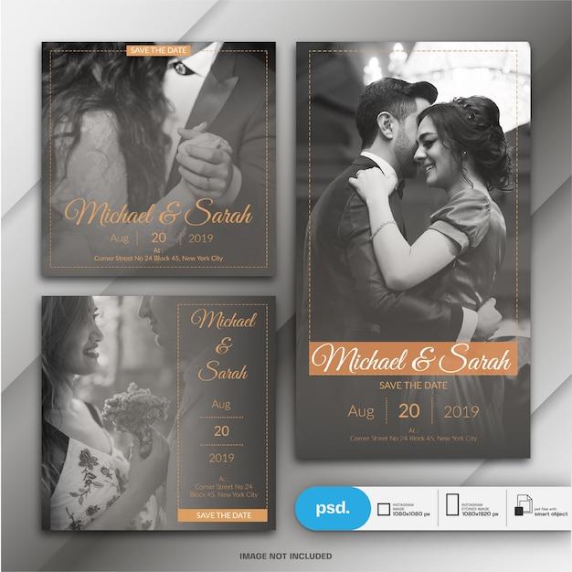 Instagram 게시물 및 스토리를위한 결혼식 초대 카드 프리미엄 PSD 파일