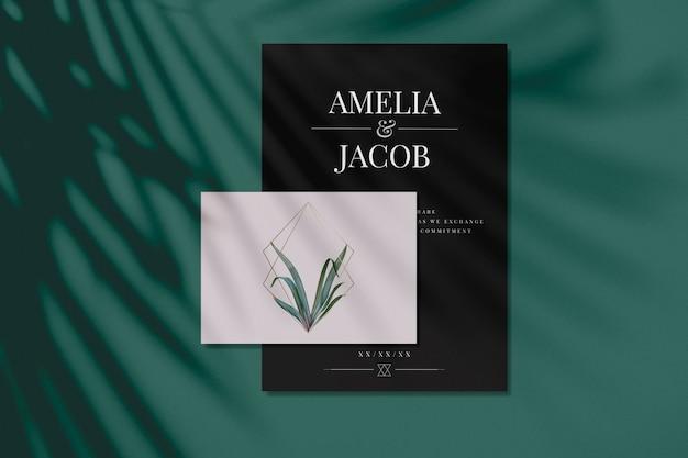 잎과 골든 프레임 결혼식 초대 카드 모형 무료 PSD 파일